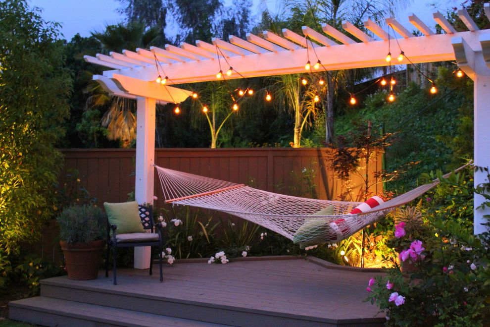 Hammocks with Stands with Traditional Deck  and California Style Casual Deck Hammock Landscape Landscape Lighting Lighting Pergola String Lights