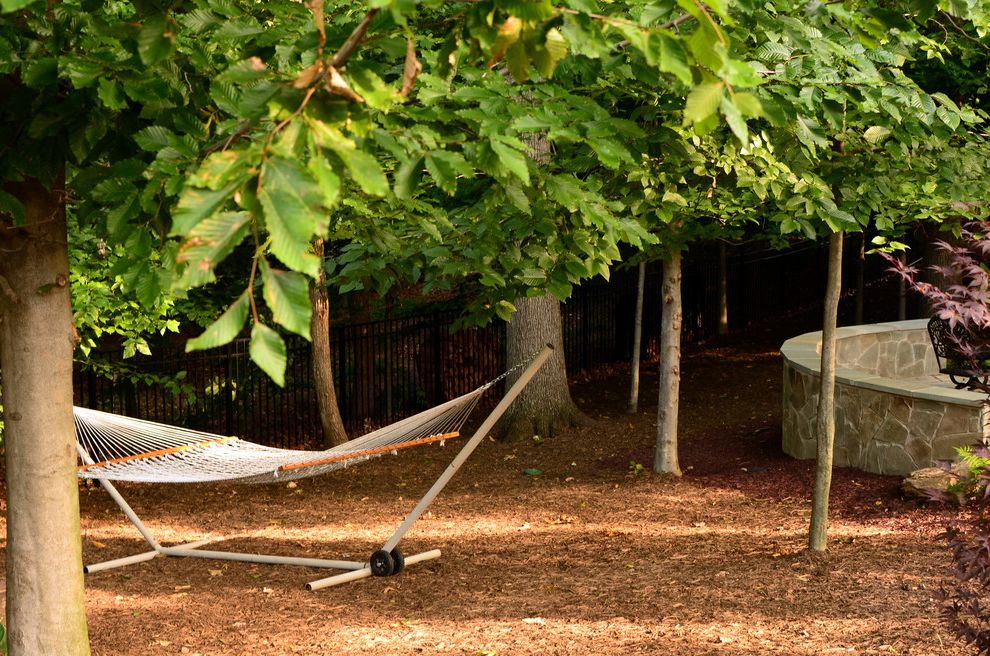 Hammocks with Stands with Traditional Landscape Also Curved Wall Hammock Relaxing Garden Stone Wall Tanbark Trees Wall
