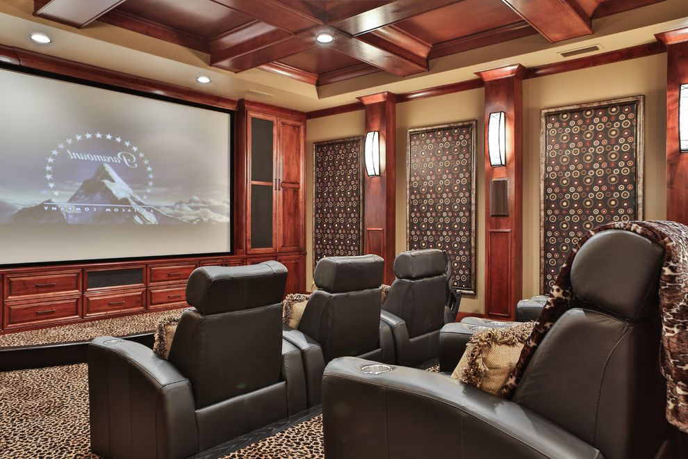 Hitching Post Theater with Traditional Home Theater Also Coffered Ceiling Custom Cabinets Leather Armchairs Movie Theater Wall Panels Wall Sconces