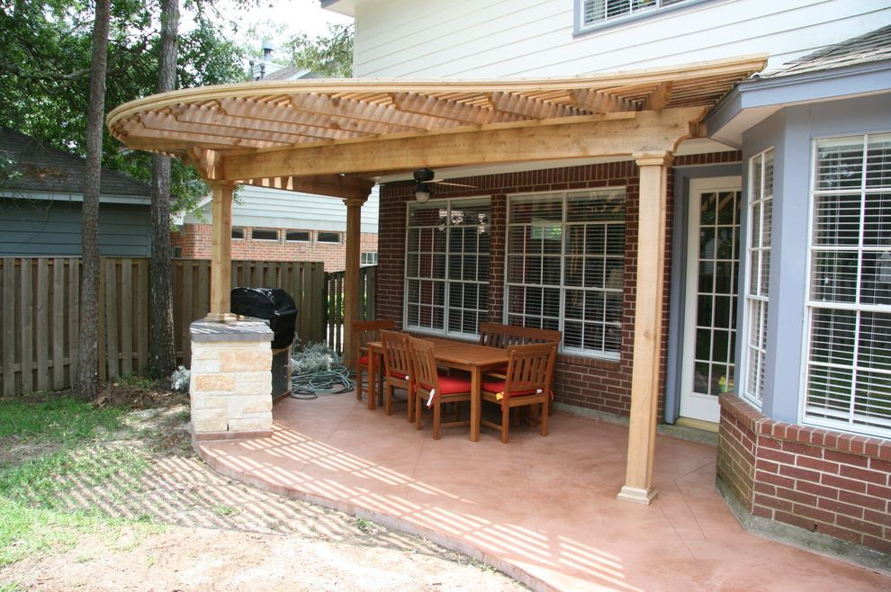 Home Depot Odessa Tx   Traditional Patio  and Cedar Arbor Outdoor Dining Pergola Stained Concrete Stamped Concrete