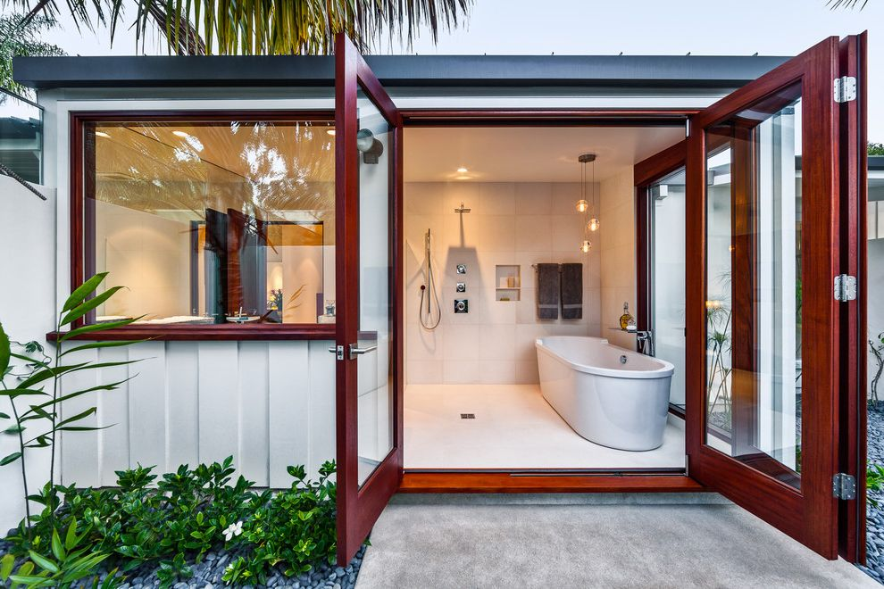 How to Unclog Shower Drain   Midcentury Bathroom Also Bathtub Bi Fold Doors Board and Batten Curbless Shower Freestanding Hand Held Shower Head Metal Roof No Shower Curtain Open Open Shower Patio Recessed Shelf Square Shower Head Walk in Shower
