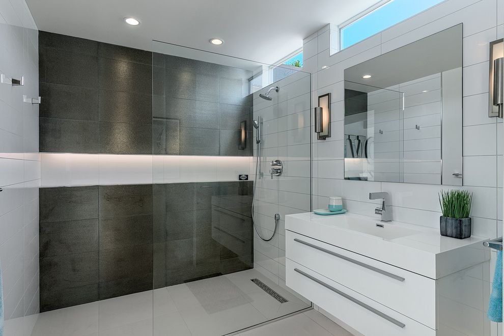 How to Unclog Shower Drain   Midcentury Bathroom Also Clerestory Windows Frameless Shower Partition Frameless Shower Shield Modern Remodel Recessed Lighting Single Handle Faucet Wall Sconces