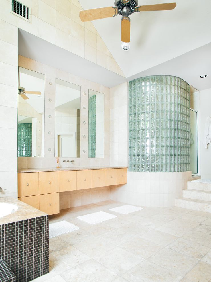 Lee Brick and Block   Contemporary Bathroom Also Ceiling Fan Curved Glass Block Floating Vanity Marble Tub Deck Mirrors Mosaic Tile Shower Enclosure Soaking Tub Step Stone Tile Floor Vaulted Ceiling Tile Walls Wall Mount Faucet