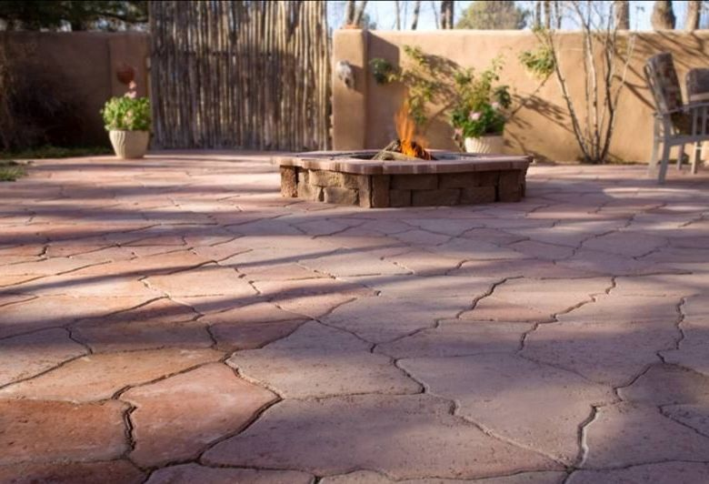 Lee Brick and Block    Patio Also Fire Pit Natural Stone Fire Pit Outdoor Stone Fire Pit Patio Seating Pressed Concrete Patios Stone Fire Pit