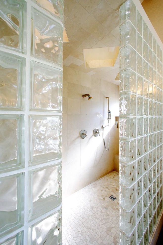 Lee Brick and Block with Contemporary Bathroom  and Bench in Shower Built in Shelves in Shower Frameless Shower Glass Block Glass Block Wall Light Natural Stone Rain Shower Head Shower Shower with Out Door Tiled Floor Tiled Wall