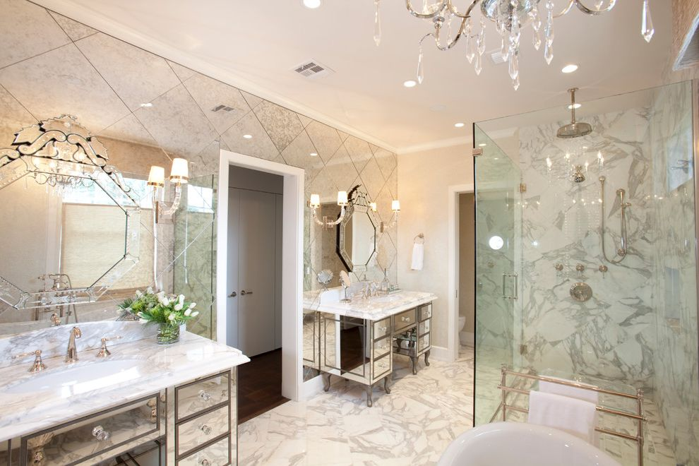 Mirror Mirror on the Wall Quote   Contemporary Bathroom Also Art Deo Mirror Clear Glass Shower Door Crystal Chandelier Diamond Pattern Free Standing Tub Marble Floor Marble Shower Marble Tile Mirrored Vanity Mirrored Wall Towel Bar Wall Sconce