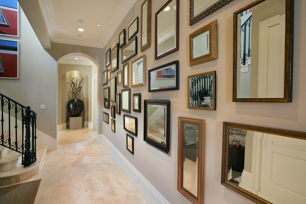 Mirror Mirror on the Wall Quote   Eclectic Hall  and Baseboards Ceiling Lighting Crown Molding Gallery Wall Hall of Mirrors Mirrors Neutral Colors Recessed Lighting Stone Flooring Tray Ceiling White Wood Wood Trim