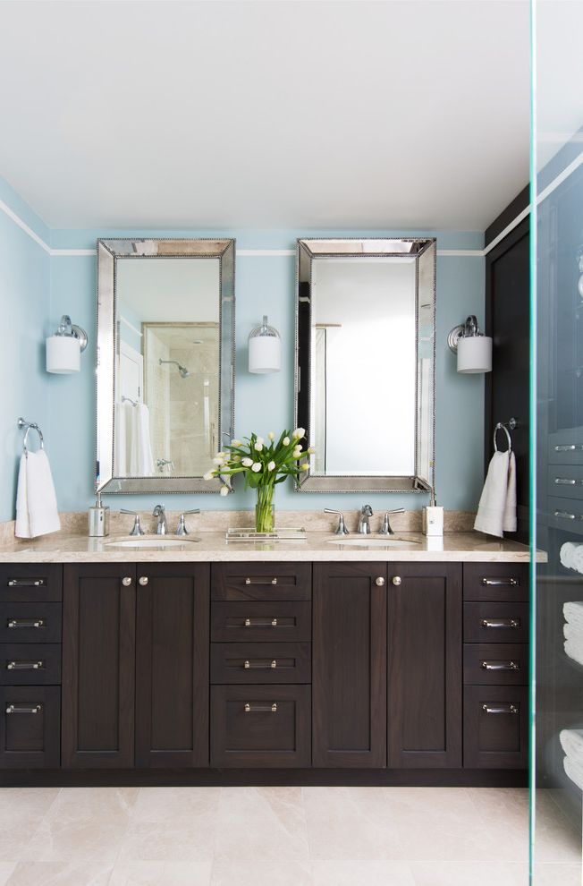 Mirror Mirror on the Wall Quote   Traditional Bathroom  and Double Vanity en Suite Bathroom Hardware Mirror Framed Mirror Mirrors Pendant Light Pot Lights Queen Ann Legs Sconces Stone Counter Stone Flooring Trim Two Sinks Vanity Window Treatments