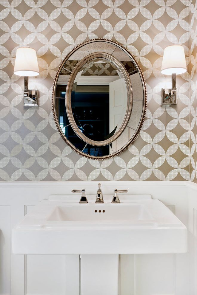 Mirror Mirror on the Wall Quote   Traditional Powder Room Also Beveled Mirror Pedestal Sink Round Mirror Sconce Wainscoting Wall Lighting Wallpaper White Trim