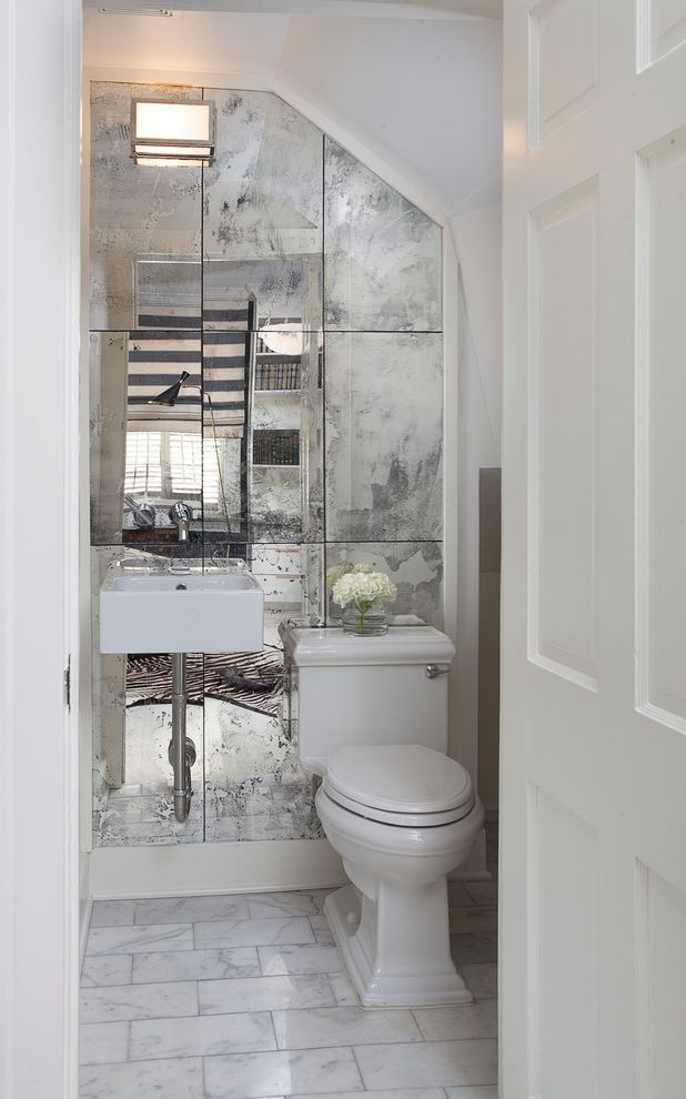 Mirror Mirror on the Wall Quote   Traditional Powder Room  and Antique Mirror Antique Mirror Tile Mirrored Accent Wall Mirrored Wall Wall Sconce Wall Mounted Sink White Door White Tile White Wall