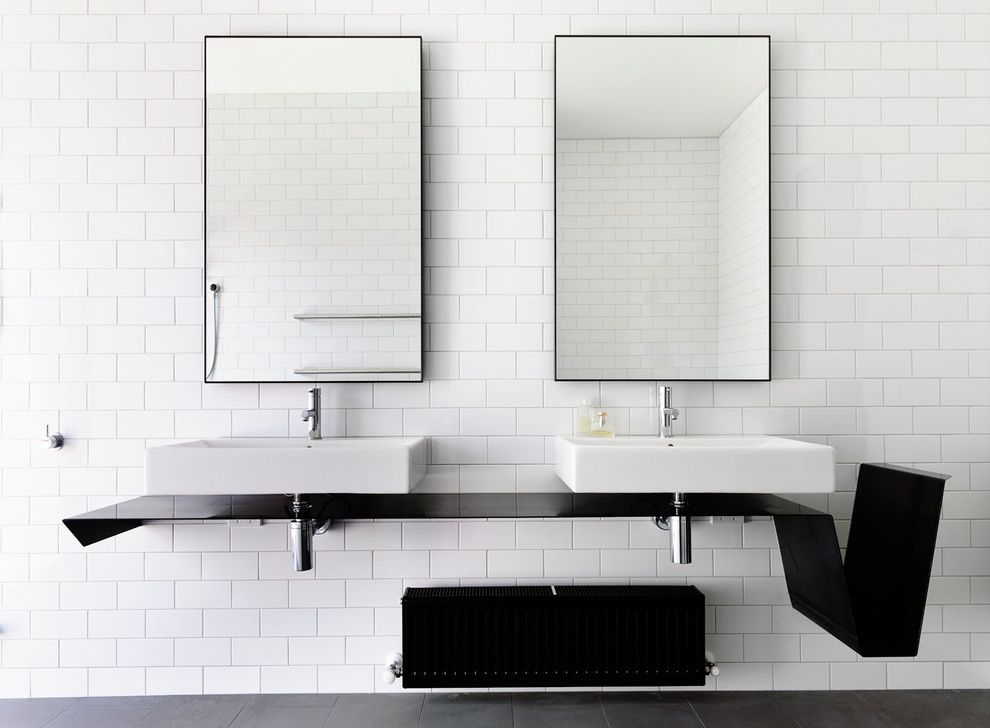 Mirror Mirror on the Wall Quote with Contemporary Bathroom Also Black and White Cantilevered Countertop Double Vanity Infinity Mirrors Minimalist Modern Mirrors Subway Tiles Two Sinks Wall Mounted Countertop