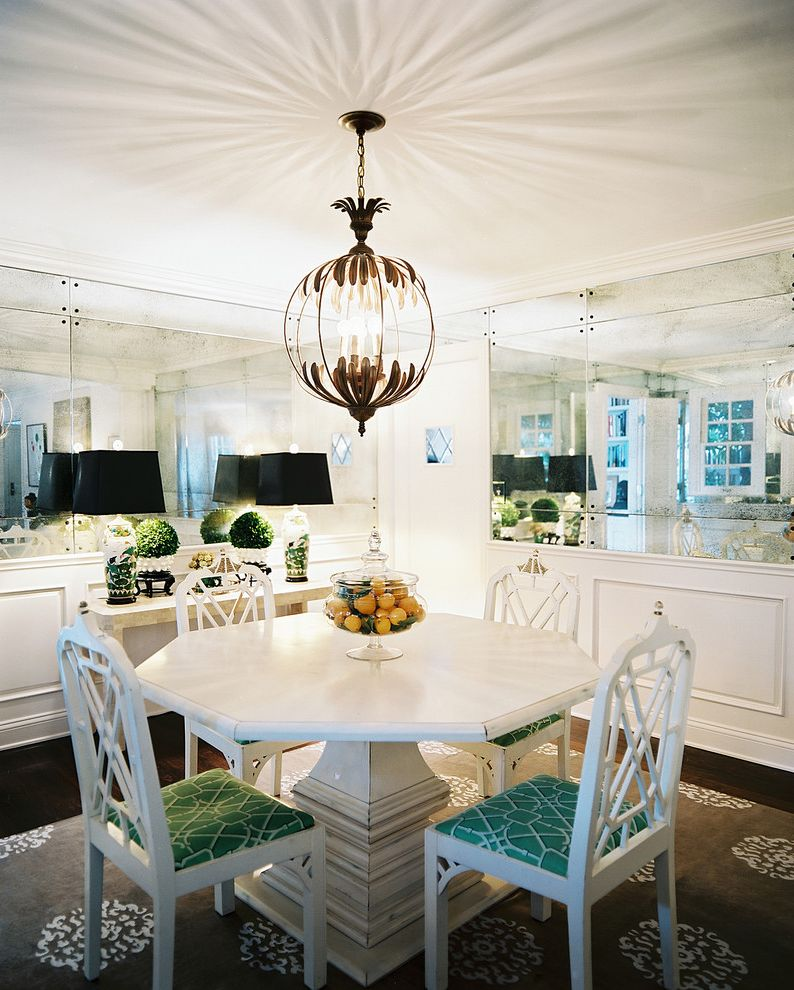 Mirror Mirror on the Wall Quote with Eclectic Dining Room  and Breakfast Nook Console Table Dark Floor Dining Table Centerpiece Eclectic Fretwork Lemons Mirror Mirrored Wall Pedestal Table Wainscoting White Dining Furniture