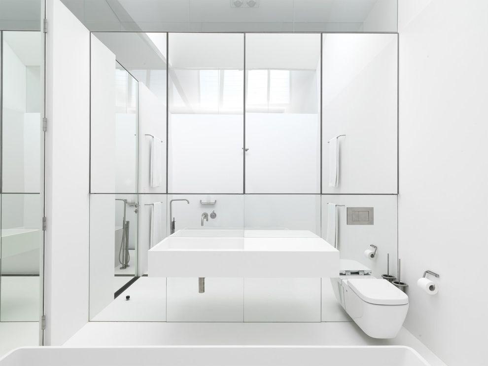 Mirror Mirror on the Wall Quote with Modern Bathroom Also Bathroom Storage Caroma Corian Dline Floating Sink Minimal Mirror Mirrored Wall Monochromatic Steel Vola White White Bathroom