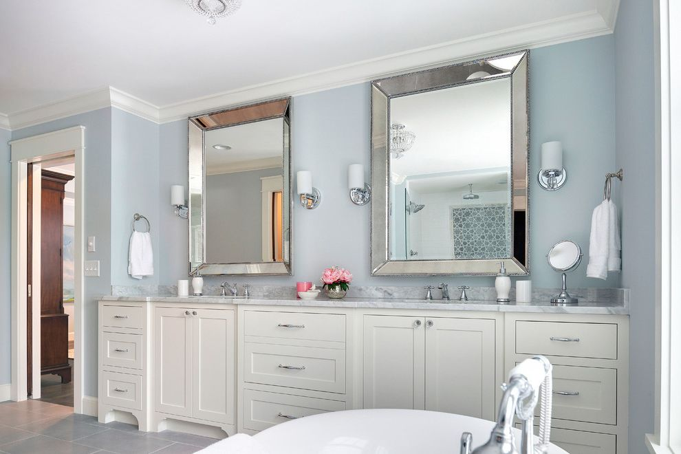 Mirror Mirror on the Wall Quote with Transitional Bathroom Also Double Sinks Double Vanity Framed Mirrors Gray Floor Tile Master Bath Stand Alone Bath Tub Wall Sconces White Countertop