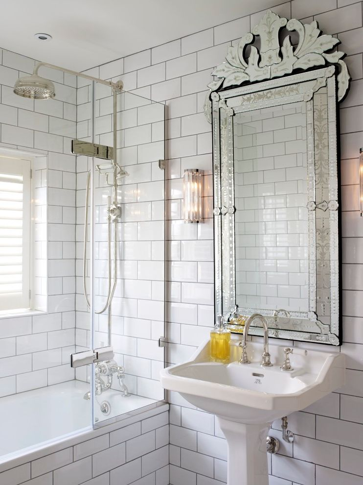 Mirror Mirror on the Wall Quote with Transitional Bathroom  and Art Deco Bathroom Window Glass Shower Door Ornate Medicine Cabinet Ornate Mirror Pedestal Sink Subway Tile Shower Subway Tile Wall Wall Sconce White Bathroom White Subway Tile