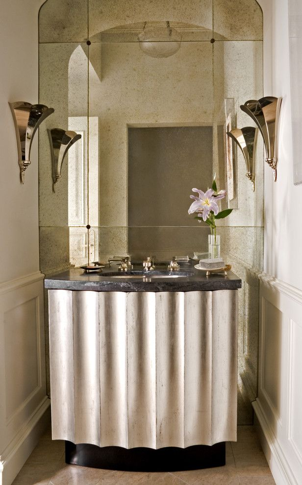 Mirror Mirror on the Wall Quote with Transitional Powder Room  and Bathroom Mirror Fluted French Marble Neutral Colors Powder Room Sconce Stone Vanity Wainscot Wainscoting Wall Lighting White Wood Wood Trim