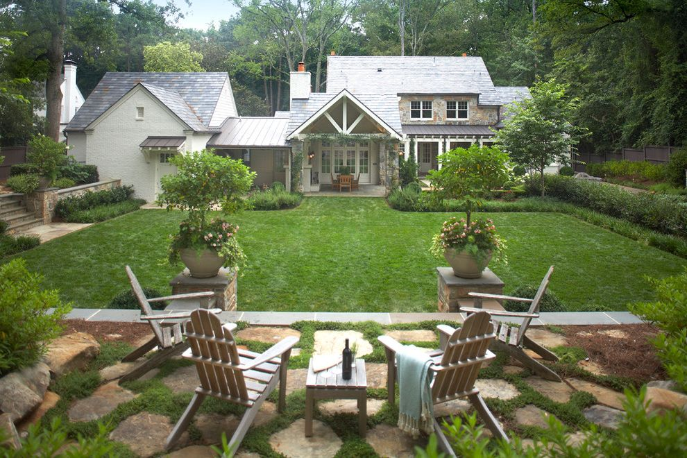 Moody Yard Sales   Traditional Landscape  and Exterior French Door Garden Seating Hedge Lawn Patio Pavers Plants Shingle Roof Stone Stone Pavers Stone Wall Tin Roof