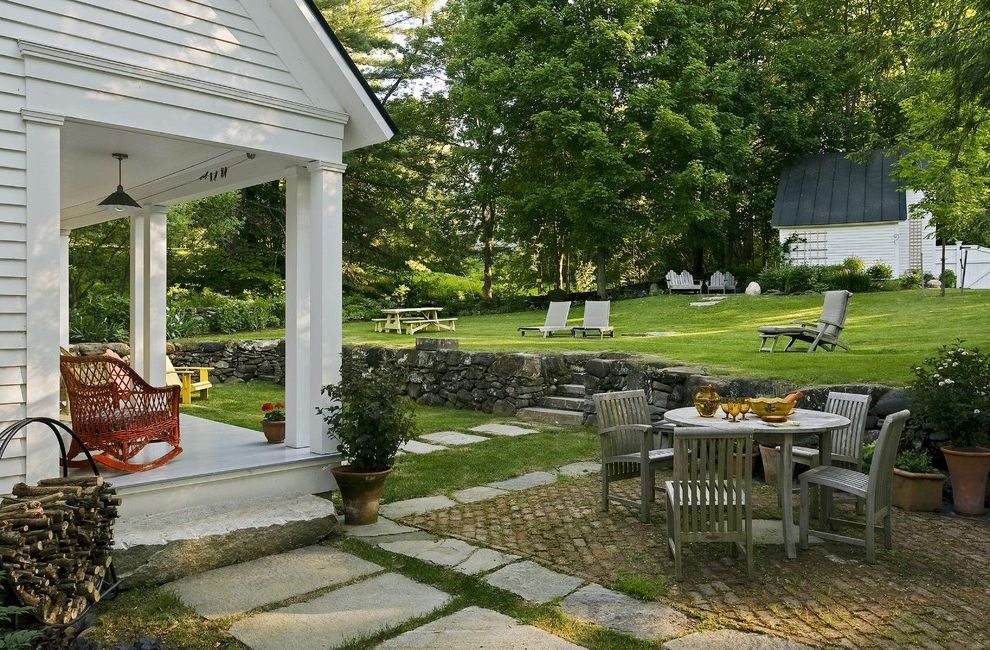 Moody Yard Sales   Traditional Patio Also Brick Brick Patio Garden Garden Furniture Lawn Outdoor Lamp Porch Stone Paths Stone Step Stone Wall White Wood House Wicker Chairs Wicker Furniture Wooden Garden Furniture