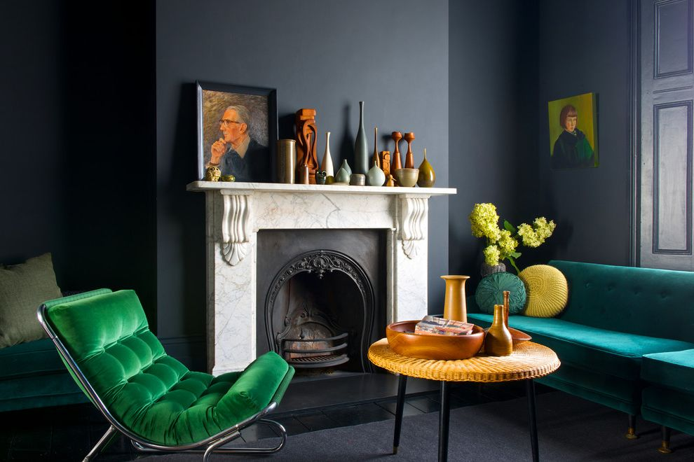 Moody Yard Sales with Contemporary Living Room  and Ceramic Vases Contemporary Dark Grey Dark Walls Framed Portrait Painting Green Green Chair Green Sofa Green Tufted Chair White Fireplace Mantel
