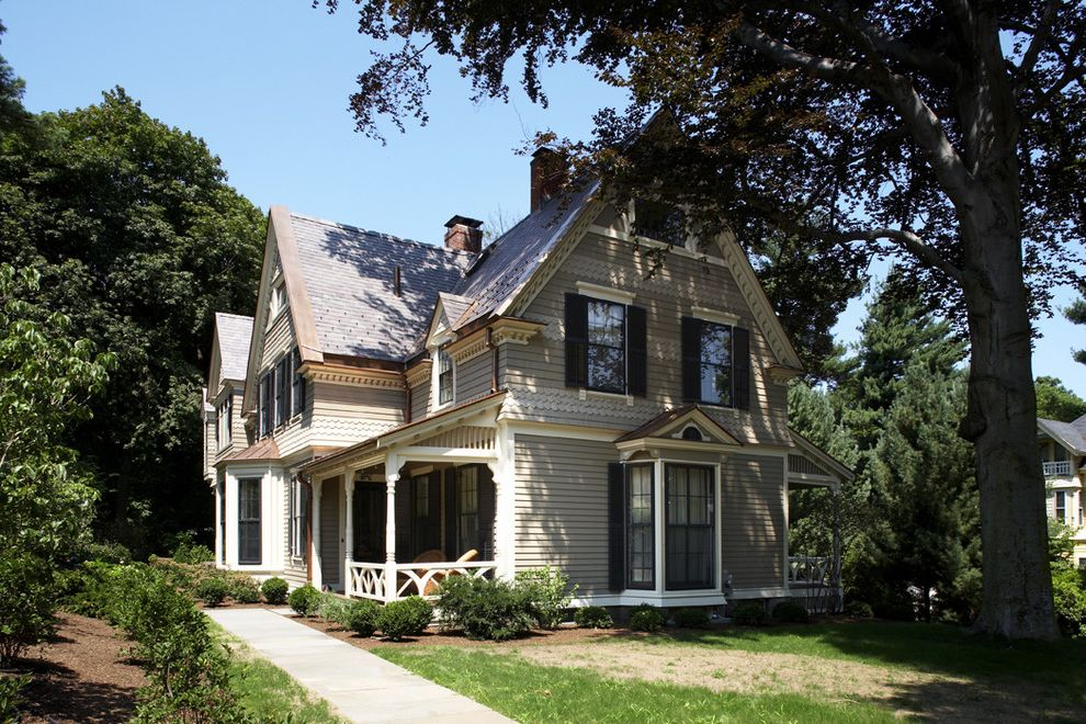 Moody Yard Sales with Victorian Exterior Also Balustrade Bay Window Cottage Craftsman Entrance Entry Grass Handrail Lawn Neutral Colors Overhang Painted Wood Porch Turf Victorian White Wood Window Shutters Wood Railing Wood Siding Wood Trim
