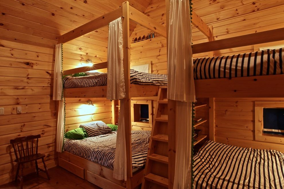 Olympic Queen Mattress   Rustic Bedroom  and Bunk Beds Bunkie Cottage Guest Room Island Cottage Knotty Wood Paneling Rustic Wood Walnut Tops