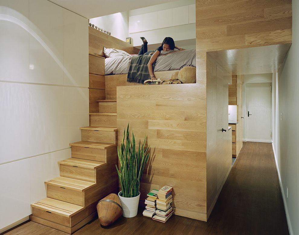 Ootoya Times Square   Contemporary Bedroom  and Built in Bed Bunk Bed Houseplants Loft Stair Case Storage Stairs Studio Apartment Wood Flooring Wood Paneling
