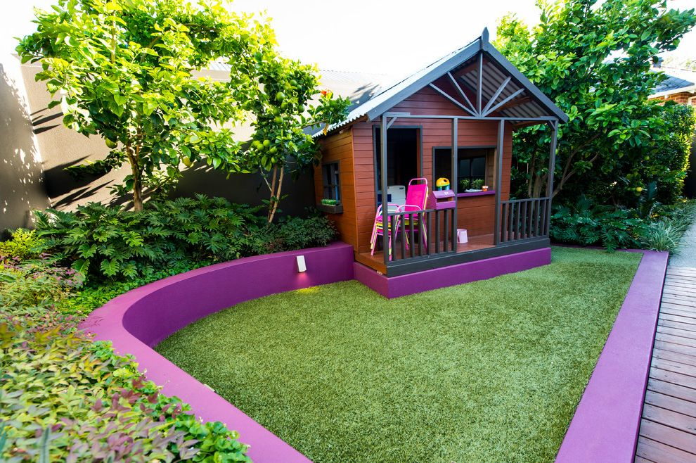 Outside Playsets   Contemporary Landscape  and Curved Retainer Wall Deck Grass Kids Plants Play House Porch Purple Retainer Wall Siding Tree Window Sill Window Trim