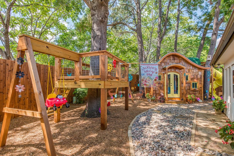 Outside Playsets   Eclectic Landscape  and Backyard Play Childrens Play Yard Fun Kids Decor Hobbit House Outdoor Playsets Outdoor Swingsets Pebbles Play Area Play Structure Playhouse Treehouse Trees