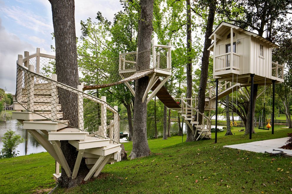Outside Playsets   Transitional Landscape Also Architectural Custom Footbridge Home Kids Playhouse Large Large Tree House Luxury Play Area Playset Rope Spiral Staircase Swing Tree Fort Treehouse