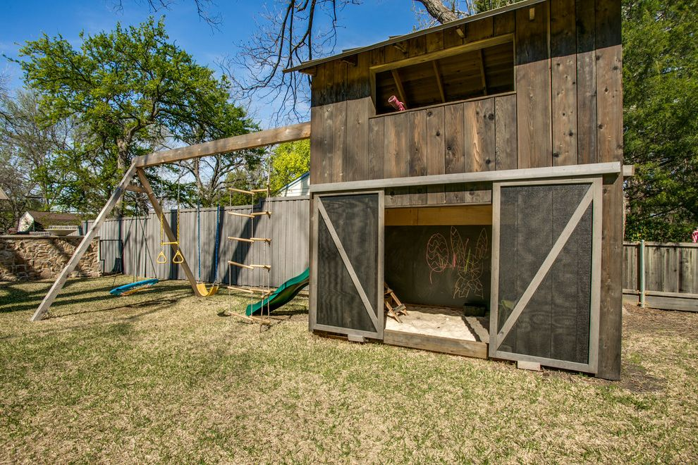 Outside Playsets with Farmhouse Landscape Also Barn Door Barnwood Chalkboard Paint Playground Playhouse Sandbox Slide Swing