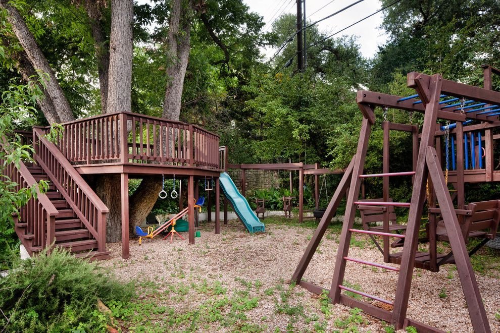 Outside Playsets with Traditional Landscape Also Brown Stained Wood Deck Deck Around Tree Kids Landscape Play Structure Playground Playset Slide Swings Treehouse