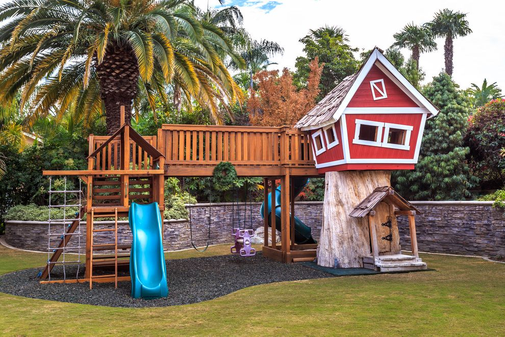 Outside Playsets with Traditional Landscape Also Grass Gravel Palm Tree Play Ground Play Set Playground Retainer Wall Slide Swing Set Tree House
