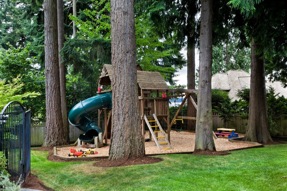 Outside Playsets with Traditional Landscape Also Grass Lawn Playhouse Sandbox Slide Swingset Trees Turf
