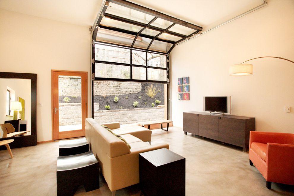 Pella Garage Doors   Industrial Living Room  and Accent Colors End Table Floor Mirror Garage Door Media Storage Side Table Tv Credenza Wall Art Wall Decor