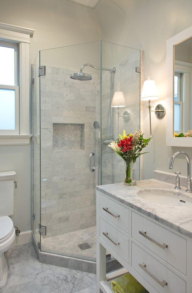 Restoration Hardware Seattle   Transitional Bathroom Also Bar Pulls Bridge Faucet Glass Shower Door Glass Shower Stall White Stone Countertop White Stone Tile Floor White Window Casement