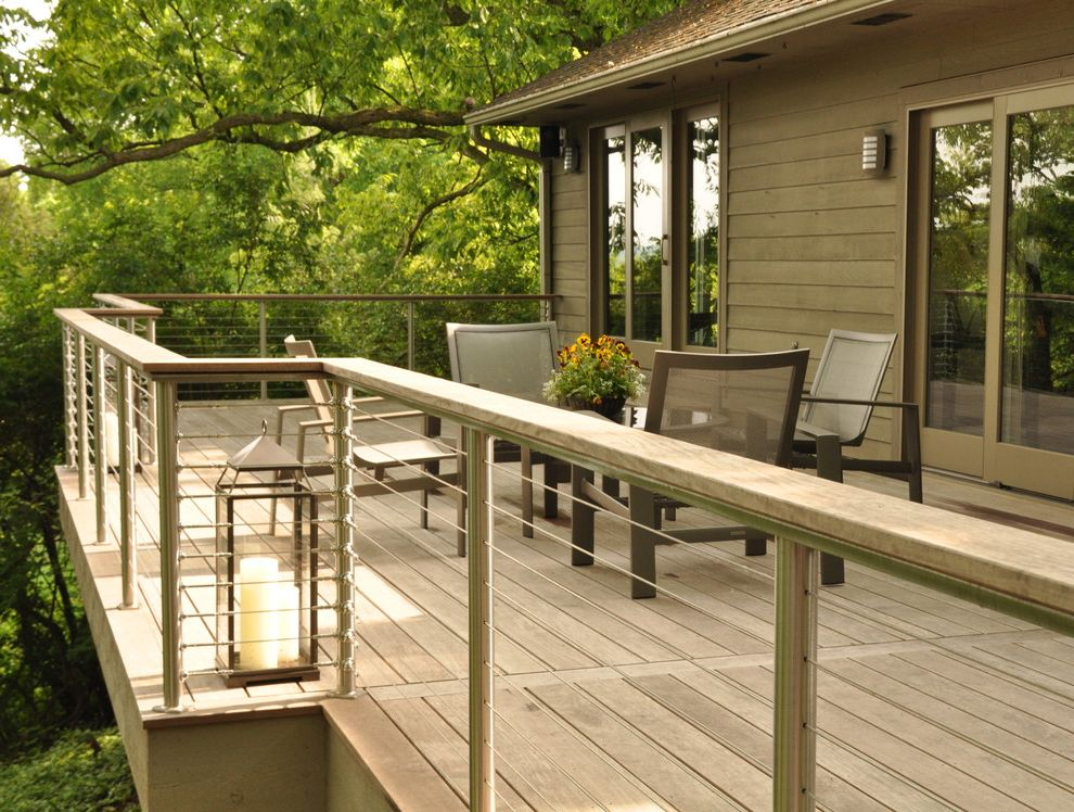Rustoleum Deck Restore with Contemporary Deck  and Brazilian Cable Cable Rail Conteporary Custom Rail Deck Entertaining Area Ipe Iron Wood Outdoor Dining Patio Furniture Post Round Post Stainless Steel Tropical Wood Welded Wood Rail Wood Siding