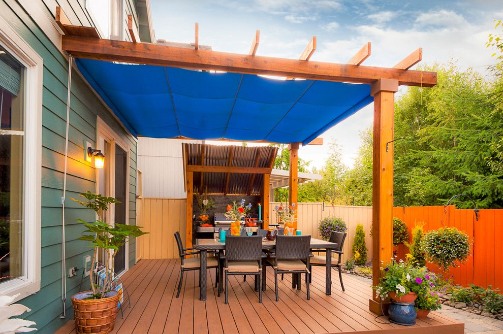 Rustoleum Deck Restore with Transitional Deck  and Ambiance Lighting Arbors Blue Awning Brown Patio Furniture Cedar Fencing Decking Outdoor Cookstation Outdoor Kitchen Outdoor Lighting Outdoor Living Space Outdoor Seating Pergolas Wood Deck