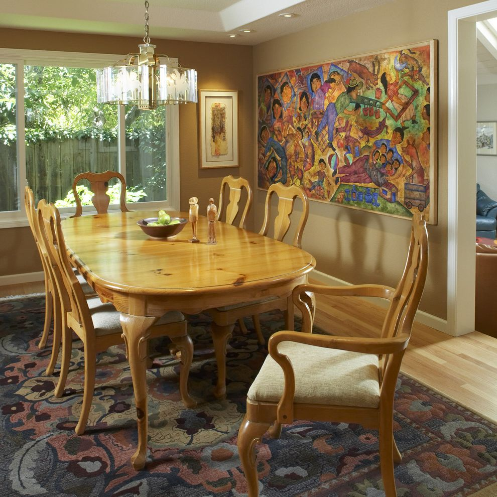 Sherwin Williams Tucson with Traditional Dining Room Also Accent Wall Area Rug Chandelier Pendant Lighting Tan Wall Wall Art Wall Decor White Wood Wood Dining Table Wood Flooring Wood Trim