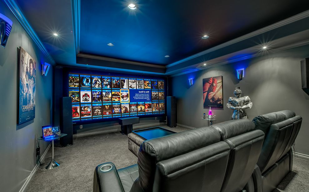 Short Pump Theater   Contemporary Home Theater Also Gray Carpet Gray Wall Home Electronics Home Theater Leather Chairs Movie Posters Recessed Lighting Speakers Statue Tray Ceiling Tv Wall Sconces