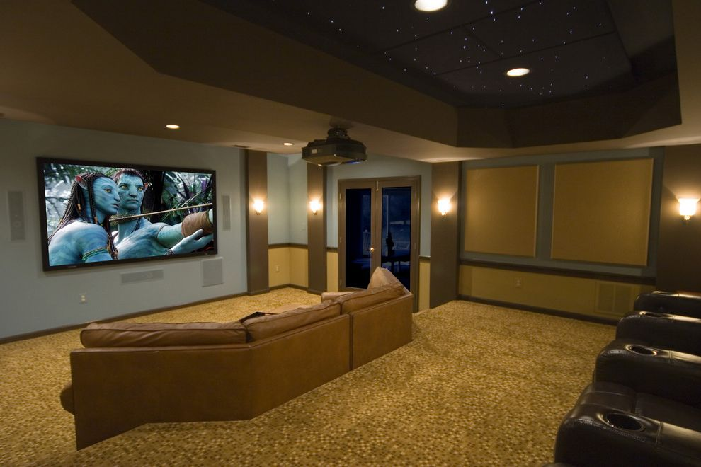 Short Pump Theater   Contemporary Home Theater  and Carpet Pattern Ceiling Lighting Ceiling Treatment Home Theater Leather Sofa Paneling Projection Screen Recessed Lighting Sconce Screening Room Sectional Sofa Tray Ceiling Wall Lighting