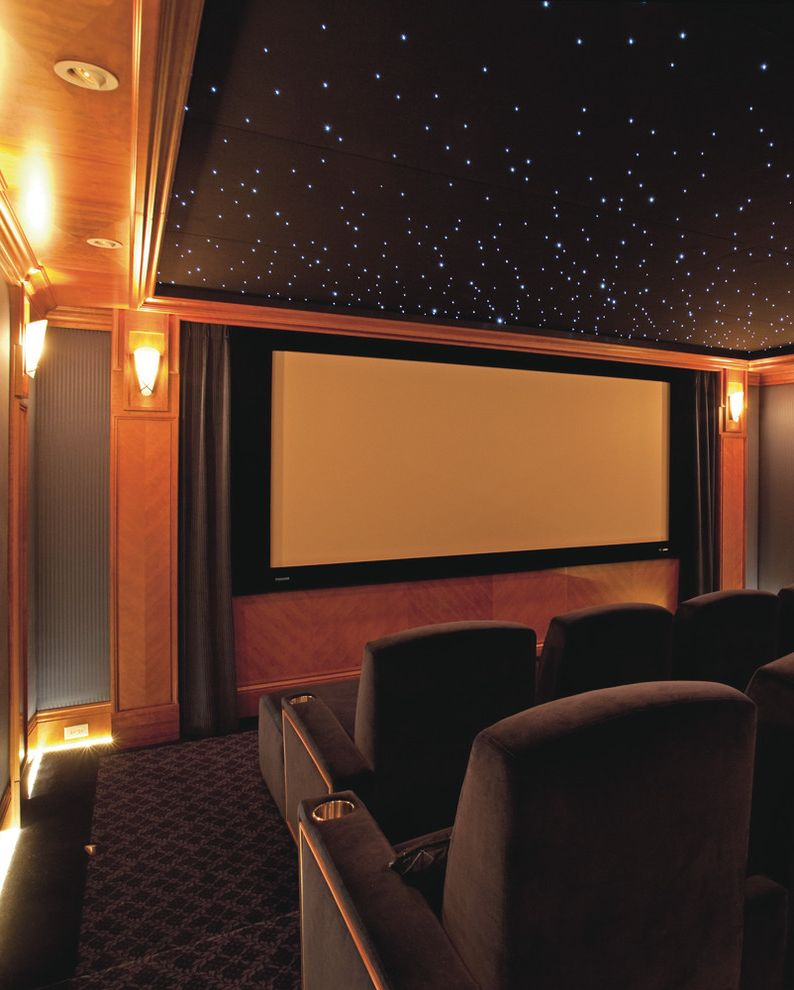 Short Pump Theater   Traditional Home Theater Also Carpet Curtains Drapes Floor Lighting Home Theater Home Theatre Private Movie Theatre Paneling Film Projector Recessed Lighting Sconce Star Ceiling Terraced Seating Theater Seating Theatre Seating