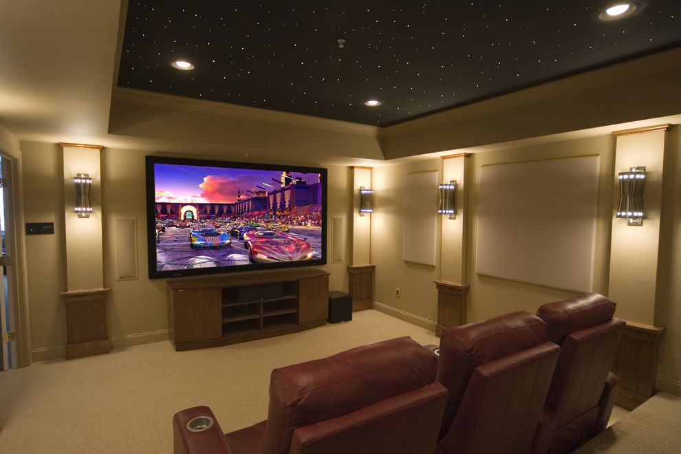 Short Pump Theater with Contemporary Home Theater  and Ceiling Lighting Ceiling Treatment Home Theater Leather Armchair Paneling Recessed Lighting Reclining Chair Sconce Screening Room Tray Ceiling Wall Lighting
