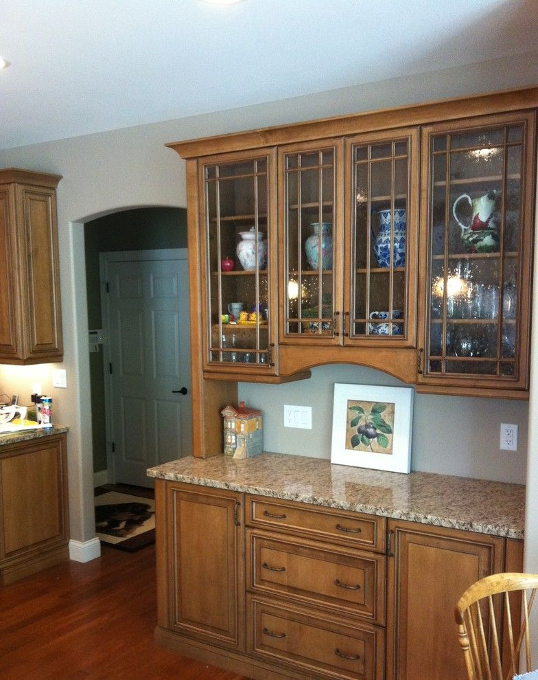 Sonic Ice Maker   Traditional Kitchen  and Drawn Antique Glass Hutch Mullion Doors Smithport Cabinetry
