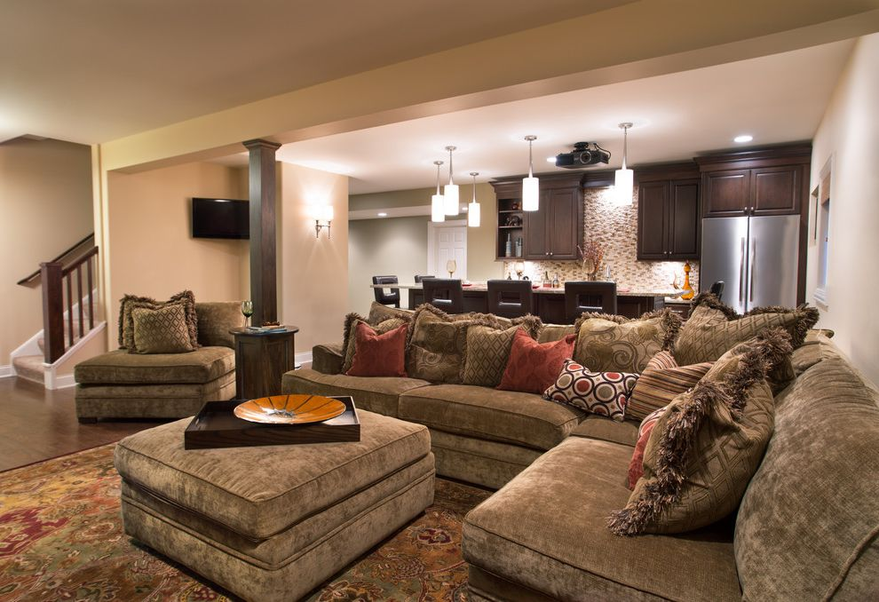 State Theater Traverse City   Traditional Basement Also Bar Sectional Starmark Cabinetry Support Post Table