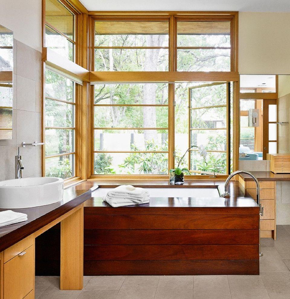 Weathershield Windows   Asian Bathroom Also Casement Windows Corner Windows House Plant Minimal Orchid Soaking Tub Tile Flooring Vessel Sink Wood Cabinets Wood Trim Wood Tub Surround