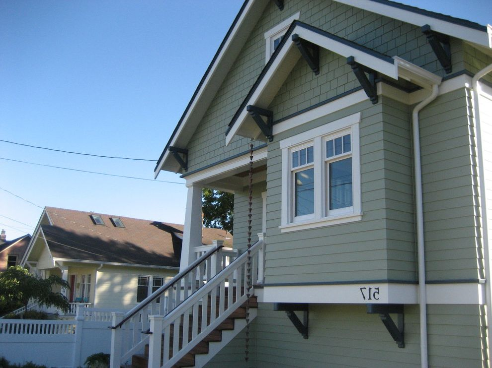 Weathershield Windows with Craftsman Exterior Also Bungalow Craftsman Style Downspout Eaves Entry Porch Handrail House Numbers Overhang Rain Chain Shingle Siding Staircase White Wood Wood Railing Wood Siding Wood Trim