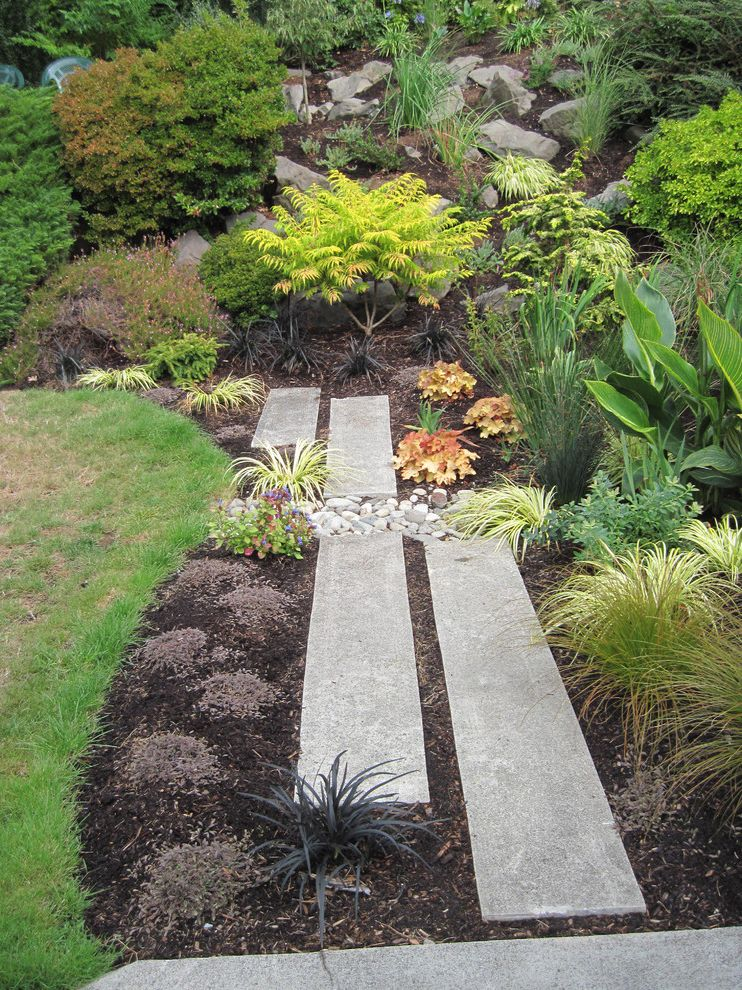 Weedman Lawn Care with Contemporary Landscape  and Boulders Concrete Block River Stone Grass Lawn Pavers Pebbles Rain Garden Recycled Concrete Pavers Rocks Turf