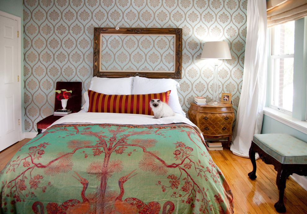 What Are Duvet Covers   Eclectic Bedroom  and Accent Wall Bedside Table Colorful Curtains Drapes Empty Mirror Green and Pink Comforter Mixed Prints Nightstand Striped Pillows White Trim Window Treatments Wood Flooring