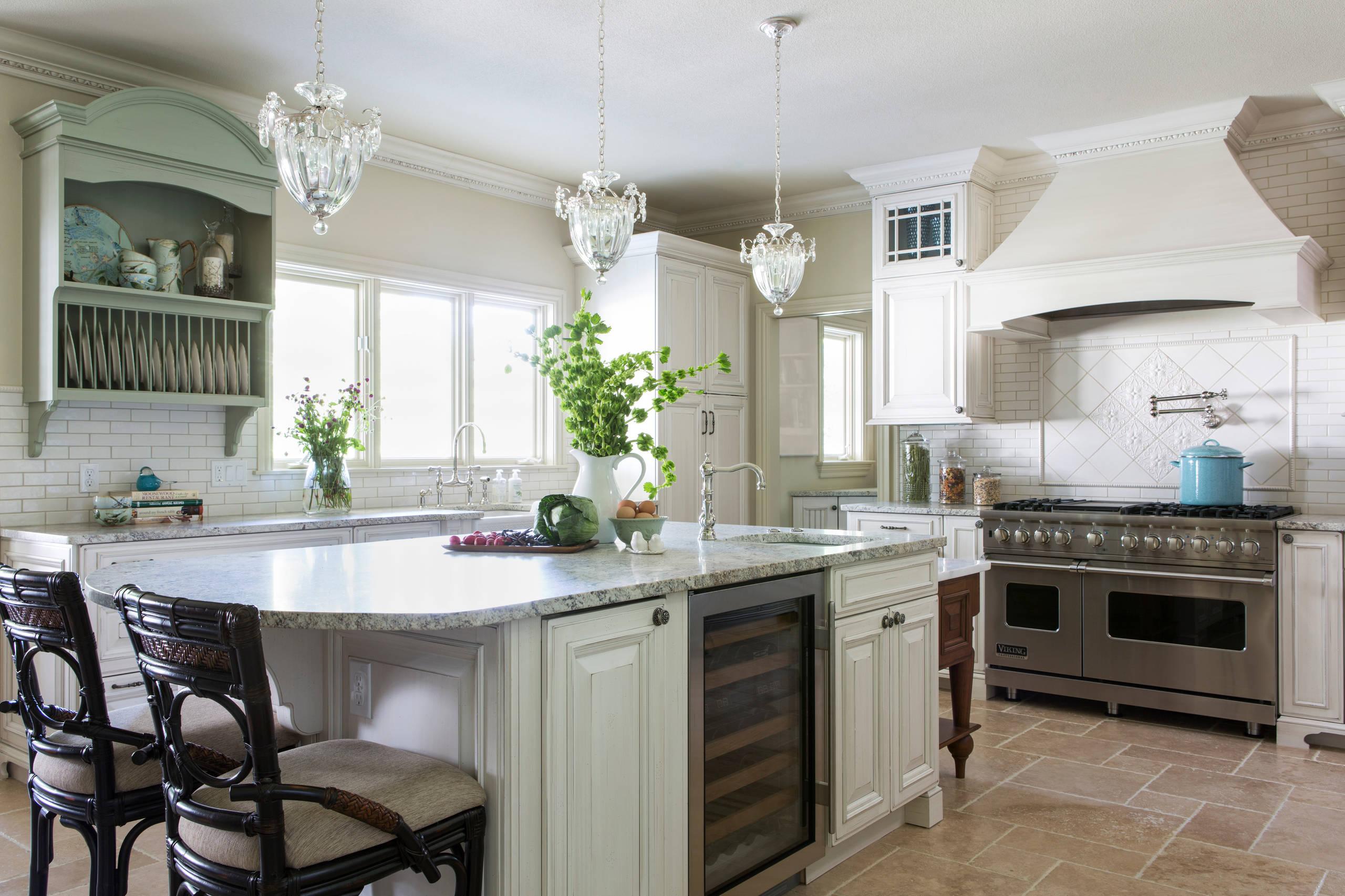 3cm Bianco Romano Honed Granite Traditional Kitchen