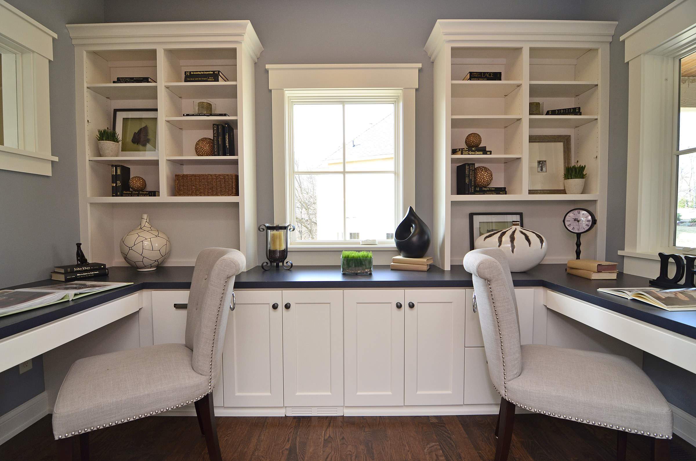 Construction companies near me Traditional Home Office built-in desk dark floor gray walls shared workspace